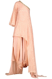 Rose Pink One Shoulder Tunic with Cowl Dhoti Pants by Nikasha