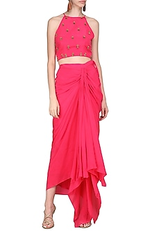 Rani Pink Embroidered Crop Top with Drape Skirt by Nikasha