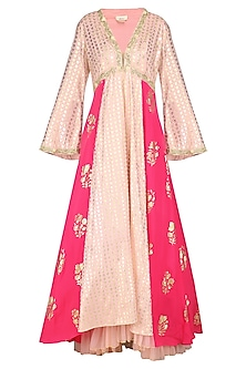 Salmon Pink Embroidered Anarkali with Rose Pink Churidar and Dupatta by Nikasha