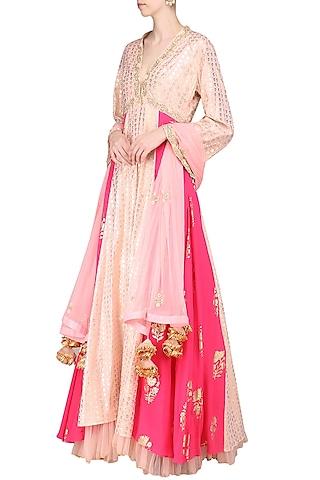 Salmon Pink Embroidered Anarkali with Rose Pink Churidar and Dupatta by Nikasha