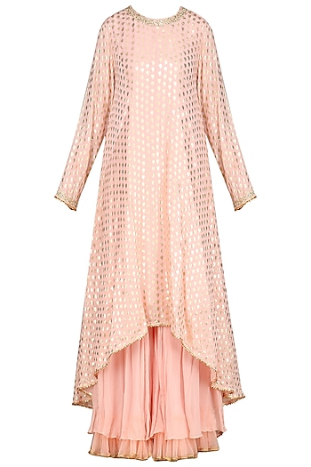 Salmon Pink Embellished Sharara Set by Nikasha