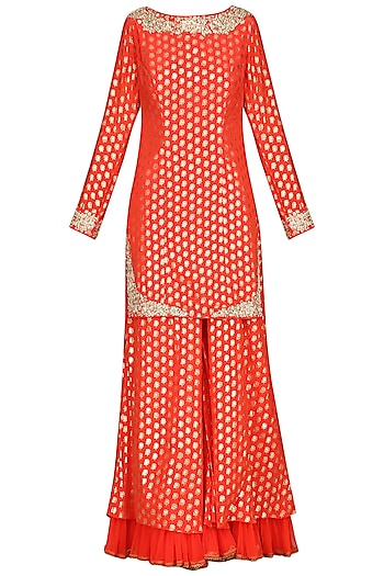 Carrot Red Embroidered Sharara Set by Nikasha
