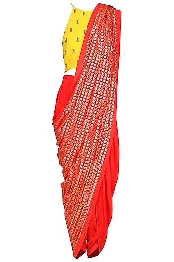 Yellow Embroidered Crop Top with Cowl Dhoti Pants by Nikasha