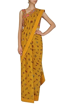 Mustard Yellow Lotus Pond Print Blouse and Saree Set by Nikasha