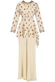 Cream Embroidered Peplum Top and Pants Set by Nikasha