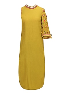 Olive One Side Embroidered Bell Sleeve Dress by Nikasha