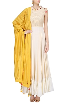 Cream Embroidered Tiered Kurta with Pitambari Yellow Dupatta by Nikasha