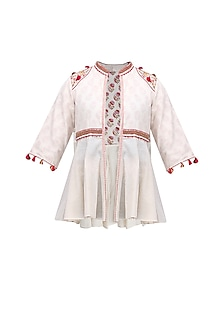 Cream Thread Embroidered Front Open Jacket by Nikasha