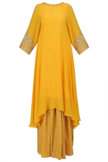 Yellow Embroidered Asymmetric Kurta with Printed Skirt by Nikasha