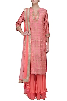 Pink Embroidered Print Kurta with Double Layer Sharara Pants by Nikasha
