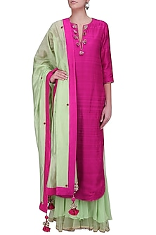 Rani Pink Embellished Neckline with Mint Double Layer Sharara Pants by Nikasha