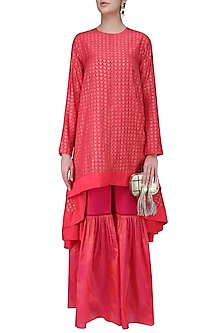Coral Printed Asymmetric Kurta with Sharara Pants by Nikasha