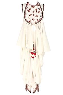 Ivory Horse Shoe Yoke Embroidered Jacket with Cowl Dhoti Pants by Nikasha