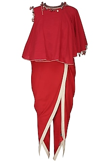 Red Embroidered Asymmetrical Layered Top with Overlap Dhoti Pants by Nikasha