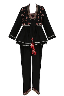 Black Jumpsuit with Black Embroidered Flared Jacket by Nikasha