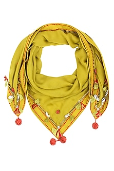 Olive Green Fringes and Shell Hanging Scarf by Nikasha