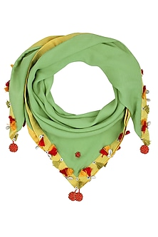 Green Fringes and Shell Hanging Scarf by Nikasha