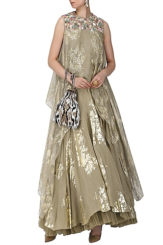 Grey Palm Leaf Foil Print Lehenga with Asymmetrical Embroidered Tunic by Nikasha