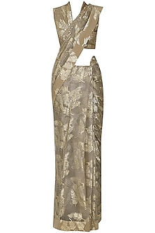 Grey Palm Leaf Foil Print Saree with Embroidered Blouse by Nikasha