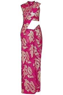 Jamun Pink Palm Leaf Foil Print Saree with Embroidered Blouse by Nikasha