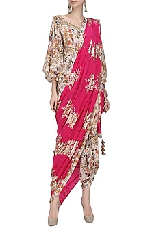 Ivory Floral Hand Painted Blouse and Dhoti Pants with Jamun Pink Embroidered Dupatta by Nikasha