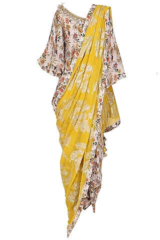 Ivory Floral Hand Painted Blouse and Dhoti Pants with Yellow Embroidered Dupatta by Nikasha