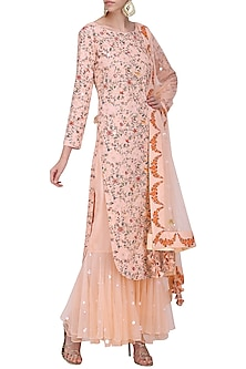 Salmon Pink Hand Painted and Embroidered Kurta with Gharara Pants Set by Nikasha