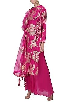 Jamun Pink Foil Printed Angrakha Style Kurta with Sharara Pants Set by Nikasha