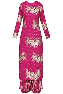 Jamun Pink Foil Printed and Embroidered Kurta with Sharara Pants Set by Nikasha
