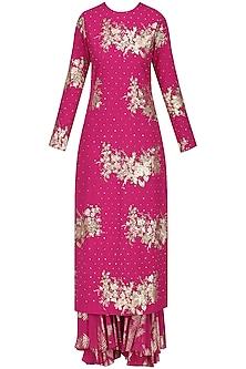 Jamun Pink Foil Printed and Embroidered Kurta with Sharara Pants Set by Nikasha