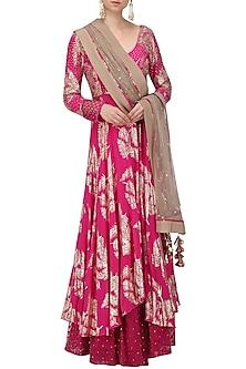 Jamun Pink Foil Printed Anarkali Gown Set by Nikasha