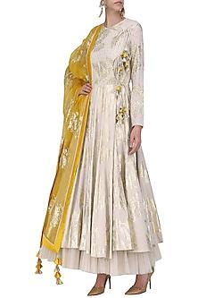 Ivory Foil Printed Angrakha Style Anarkali with Churidar Pants Set by Nikasha