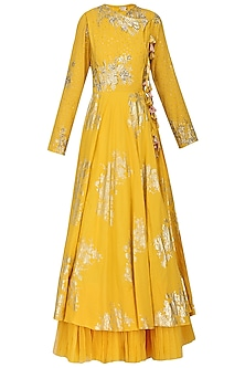 Yellow Foil Printed Angrakha Style Anarkali with Churidar Pants Set by Nikasha