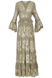 Grey Foil Printed Ruffled Maxi Dress by Nikasha