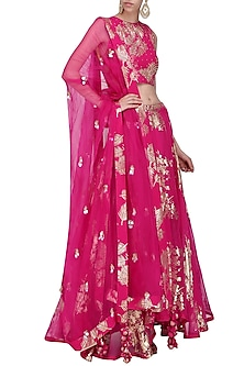 Jamun Pink Foil Printed and Embroidered Asymmetrical Lehenga Set by Nikasha