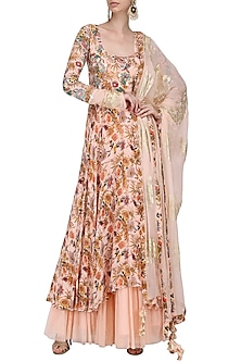 Salmon Pink Embroidered and Hand Painted Anarkali with Churidar Pants Set by Nikasha