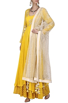 Yellow and Ivory Embroidered Anarkali with Churidar Pants Set by Nikasha
