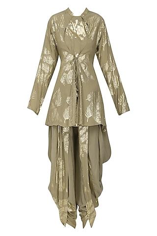 Grey Gold Foil Printed Peplum Top with Panelled Dhoti Pants by Nikasha