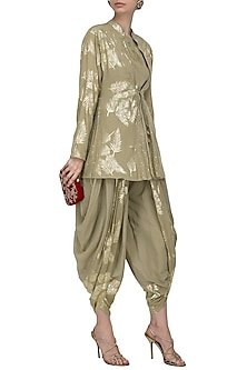 Grey Gold Foil Printed Peplum Top with Panelled Dhoti Pants by Nikasha