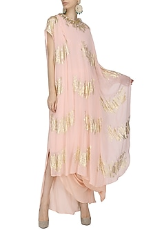 Salmon Pink Gold Foil Printed Kaftan Top with Cowl Maxi Skirt by Nikasha