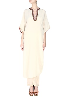 Cream Embroidered Rouch Kurta with Dhoti Pants by Nikasha