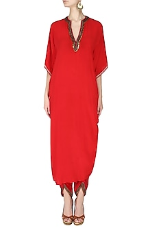 Red Embroidered Rouched Kurta with Dhoti Pants by Nikasha