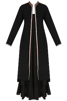 Black Embroiedered Jacket with Long Slip Dress by Nikasha