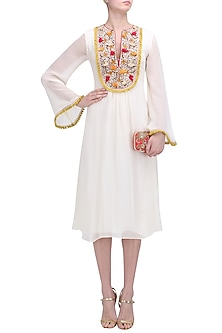 Cream Floral Embroidered Yoke Tunic Dress by Nikasha