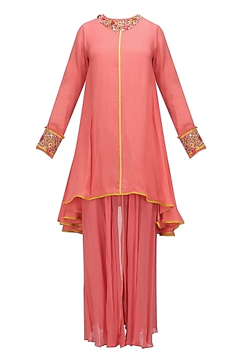 Gajari Asymmetric Embroidered Tunic and Sharara Pants Set by Nikasha
