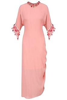 Salmon Embroiderd Rouching Dress by Nikasha