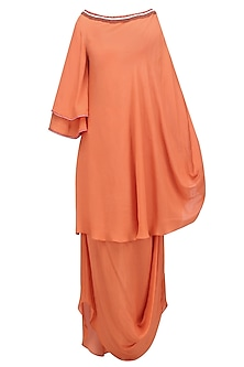 Gajari Orange One Shoulder Embellished Tunic with Cowled Skirt by Nikasha