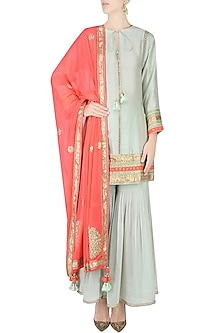 Mint Ladder Lace Kurta with Gathered Sharara and Printed Dupatta by Nikasha
