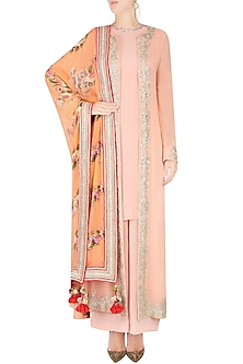 Peach Embroidered Jacket with Pink Kurta and Pants by Nikasha