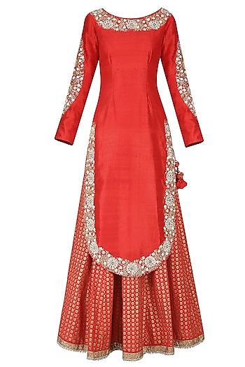 Krishna Red Embroidered Kurta with Printed Lehenga and Embellished Dupatta by Nikasha